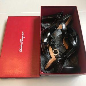 Salvatore Ferragamo Porpora Black Sandal Heel
